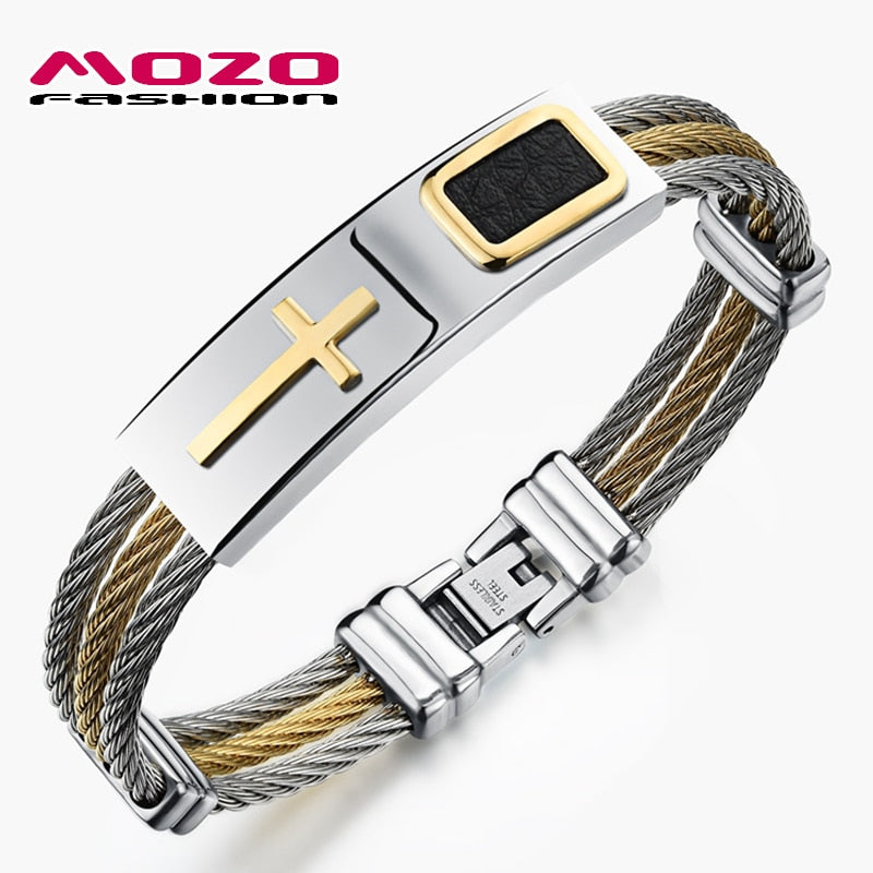 MOZO FASHION Trendy Men Punk Jewelry Stainless Steel Cross Bracelets Bangles with Leather Exquisite Bracelet for Man Gift MGH785