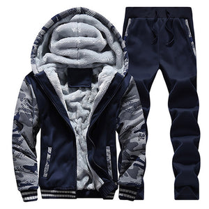 2017 NEW spring Sportswear Casual Suit Hoodies Men cotton Zipper Trousers Sweatshirts Winter Warm Thicken Tracksuit Set 78z