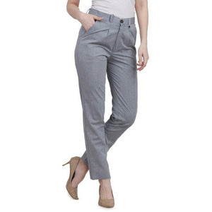 New 2021 Presenting Beautiful Pure Cotton Ladies Pant-Gray-Size-L