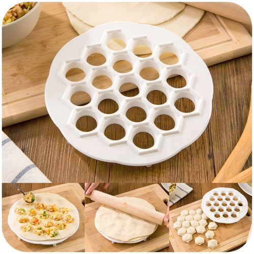 1Time to do 19 dumplings!!New Dumpling Mold Maker Kitchen Dough Press Ravioli DIY 19 Holes Dumplings Maker Mold Cooking Tools