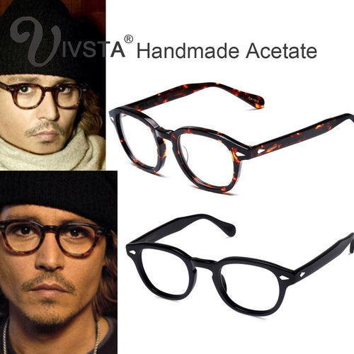 IVSTA Mos Logo Handmade Acetate Frames Women Johnny Depp Glasses Men Brand Designer Cellulose Tortoise Acetato Marca with Box
