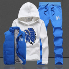 Three-Piece Sweat Suit Tracksuit Men Winter Thick Fleece Hoodies Men Track suits Jacket Vest Pants Men Clothing Set Men Coat
