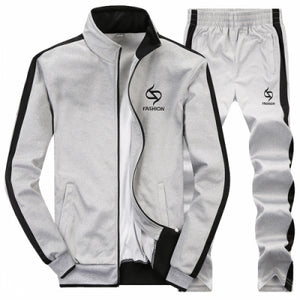 AmberHeard 2017 Fashion Spring Autumn Men Sportswear Set Jacket+Pant Sweatsuit 2 Piece Set Sportswear Tracksuit For Men Clothing