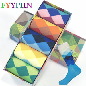 Calcetines Hombre Standard Cotton Casual Free High Quality Delivery Men's Socks, Colorful Clothes Socks (5 Pairs / Lot) No Box