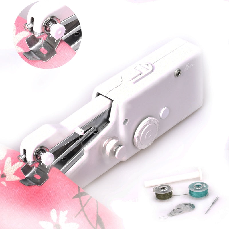 2017 NeedleWork Mini Sewing Machine Portable Hand Sewing Machine Clothes Fabrics Electric Overlock Sewing Up Bobbine Naaimachine