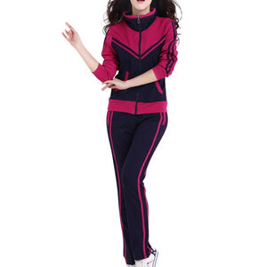 TLZC Mandarin Collar Lady Popular Sportswear 2 Pieces Set Coat + Trouser Plus Size L-5XL Patchwork Style Women Casual Tracksuits