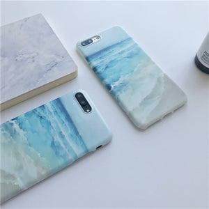 Blue Sea Waves beach painted TPU case for iphone 7 7Plus IMD Ocean TPU Case For iphone X 6 6s 6plus 6splus 8 8plus back cover