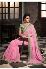Pink- Light Green Color Designer Party Wear Georgette Saree
