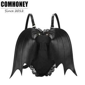 Women Backpack Bat Wing Backpack Punk Stylish Newest School Bag for Girls Bat Bag Angel Wings Backpack Cute Little Devil Package