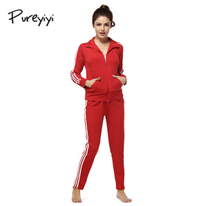 Pureyiyi Women Two Piece Set Female Winter Tracksuit top + Pants Ladies Long Sleeve Outfit Femme Sporting Suits fitness outfits