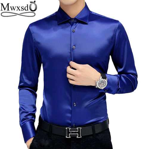 Mwxsd brand Men's tuxedo dress Shirts Wedding Party Luxury Long Sleeve Shirt Silk soft Shirt Men Mercerized business Shirt