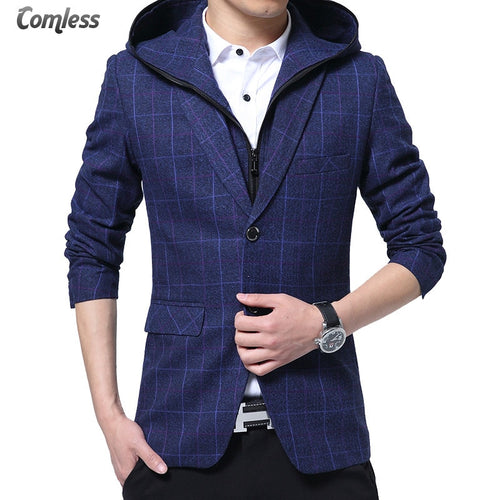Men Blazer Detachable Hooded Design Blazer Men's Casual Jacket Slim Fit Plaid Suits Costume Homme Classic Mens Suit Coats M-XXXL