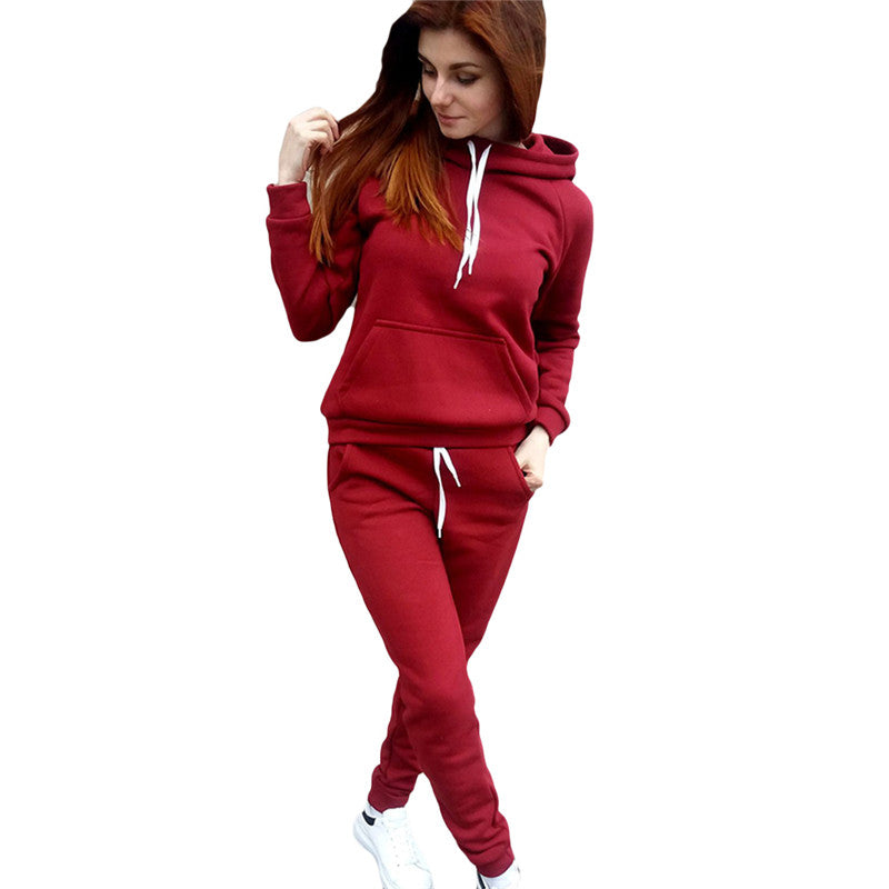 2 Piece Women Sweat Suits Set 2017 Autumn Winter Cotton Knitted Hoodies Pants Ladies Slim Fitness Tracksuits Two Piece Outfits