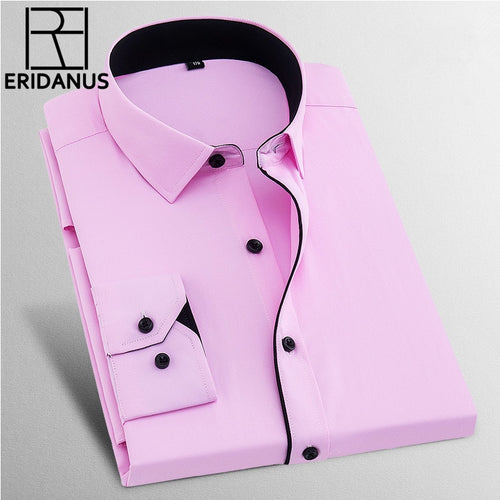 Dress Shirts Men 2017 New Brand Spring Long Sleeve Twill Business Formal Mens Dress Shirts Solid Men's Casual Wedding 8XL X568