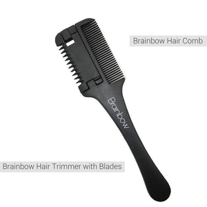 Brainbow 1pc Super Hair Razor Comb Black Handle Hair Razor Cutting Thinning Comb Home DIY Trimmer inside with Blades Hair Brush