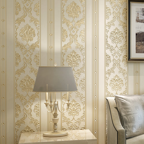 3D Embossed Striped Damask Wall Paper Rolls Luxury European Style Wallpaper Roll For Walls Living Room Bedroom Decor Wall Papers