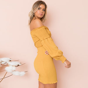 2017 Hottest style Slash neck long sleeve dress Long sleeve slash neck yellow color bodycon mini dresses vestidos drop shipping