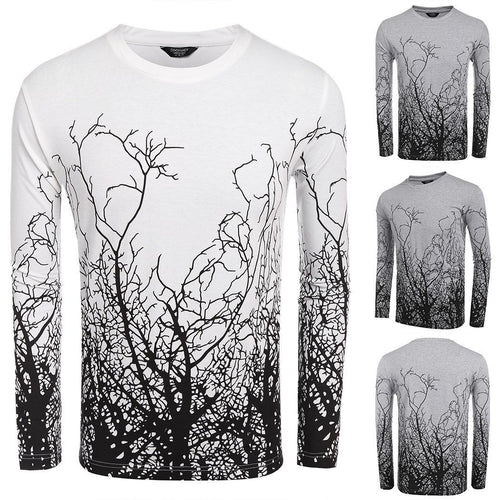Men Casual Round Neck Long Sleeve Printing T-Shirt