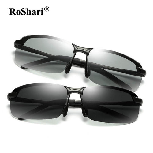 RoShari Driving Photochromic Sunglasses Men Polarized Chameleon Discoloration Sun glasses for men oculos de sol masculino P3043