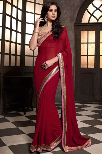 Red Color Party Wear Desginer Georgette Saree