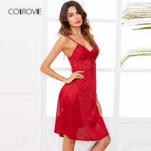 COLROVIE Lace Panel Cami Sleep Dress 2018 New Summer Spaghetti Strap Sexy Nightwear Red Sleeveless Plain Satin Home Night Dresse