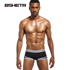 4 Pcs/lot BSHETR Brand Male Underwear Breathable Boxers Soft Cotton Shorts Men Slip U convex pouch Panties Gay Sexy Underpants