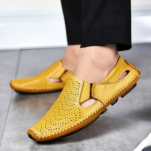 ac14a46f2ef Men Fashion Leather Sandals Plus Size 45 46 47 Casual Slip-on Summer Shoes  5 Colors Size 38-47