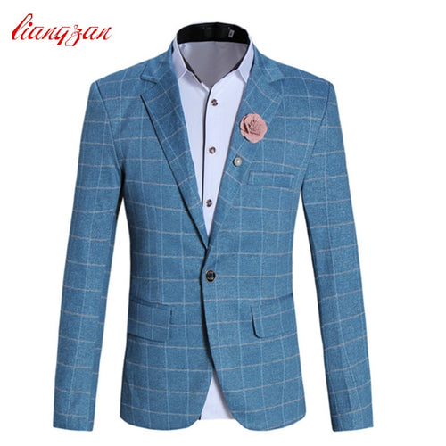 Men Casual Blazer Suit High Quality Slim Fit Wedding Suits Jacket Brand Plus Size M-5XL Cotton Business Party Dress Blazer F2297