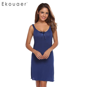 Ekouaer Fashion Slim Nightwear Women Spaghetti Strap Sleeveless Solid Nighties Sleepwear Summer Casual Bow Sleepwear