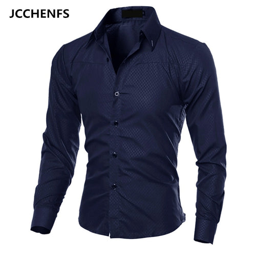 JCCHENFS 2018 Casual Mens Shirts Fashion Long Sleeve Plaid Shirt For Men Social Dress shirt Size: M-5XL