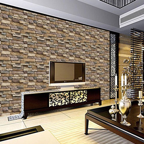 45x100cm 3D Wallpaper Decorative Wall Decals Brick Stone Rustic Self-adhesive Wall Sticker Roll for Bedroom Kitchen Home Decor