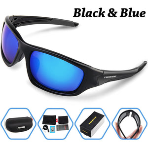 TOREGE Men's Fashion Polarized Sunglasses For Driving Glasses TR90 Unbreakable Frame Eyewear Unisex 100% UV400 Glasses