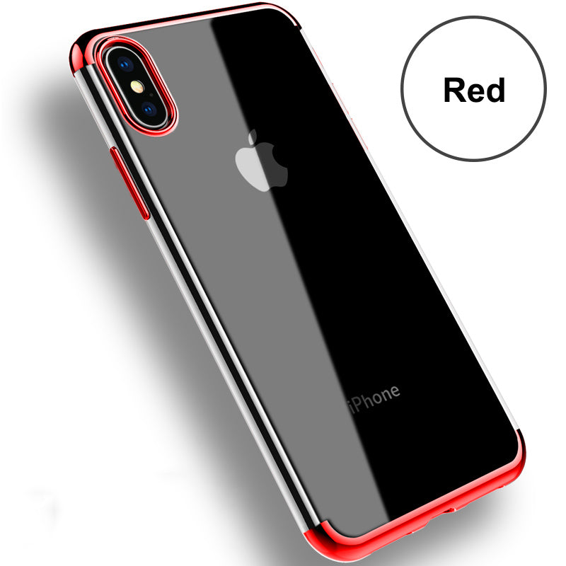 ipngve Case For iPhone X Transparent TPU UV Electroplating Capa Fundas Coque For iPhone 7 8 Plus Clear Silicon Phone Cases