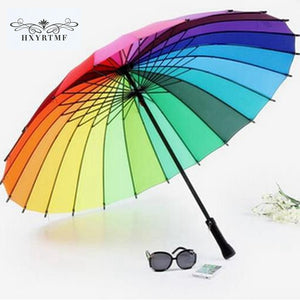 Free Shipping Fashion Women parasol Rainbow Umbrella Big Long Handle Straight Colorful Umbrella Female Sunny And Rainy Umbrella
