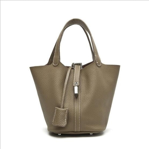 AIXIN High Quality Genuine Leather Women Handbag brand design 100% Real Cowhide Tote bags Picotin Lock bucket bags female handba