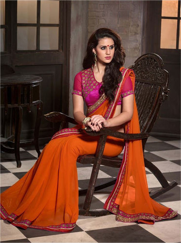 Orange Color Designer Party Wear Georgette Saree