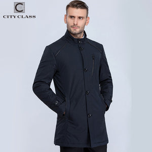 City Class 2016 new mens spring autumn warm coats stand collar bussiness style fashion casual slim trench for male 16512