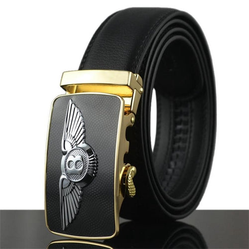 WOWTIGER Belt Men Luxury Famous Brand Designer Male Genuine Leather Automatic Buckle Belt Ceinture Homm
