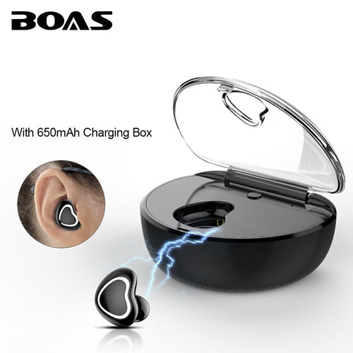 BOAS Mini Bluetooth Wireless Earphones with Charging Box Music Business Invisible Headphone Handsfree with Mic for Lovers Gift