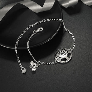 Hot sale silver color life tree anklet bracelet fashion woman & girl foot jewelry tornozeleira
