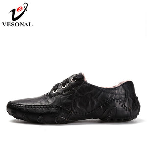 VESONAL Hot Sale 2017 Autumn Winter Fur Men Shoes Casual Male Adult Genuine Leather Brand Walking Driver Quality Footwear Man