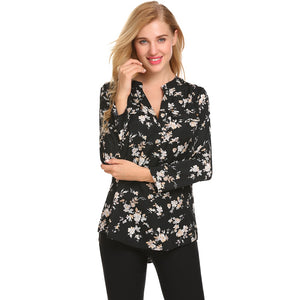 Meaneor Vintage Blouses Women Roll-Up Cuffed Sleeve Shirts Floral Print Asymmetrical Blouse Casual V Neck Long Sleeve Blusas
