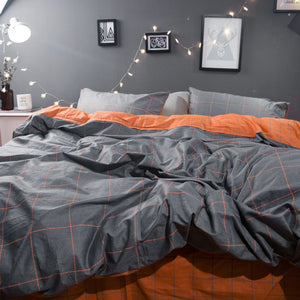 Sookie Geometric Print Bedding Set 4pcs King Size Duvet Cover Set Modern Home Comforter Bedclothes 100% Cotton Soft Bed Linen