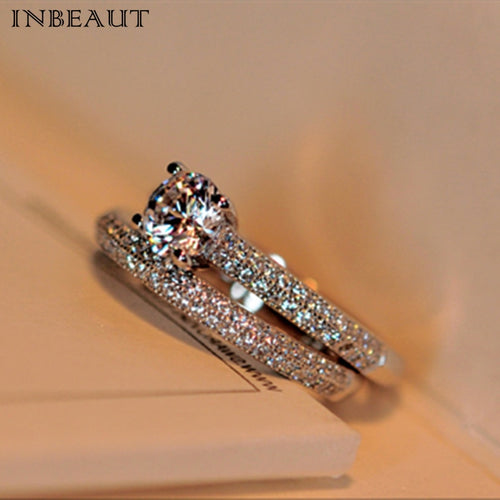 INBEAUT Women Fashion 925 Silver Shining Zircon Ring Set for Teen Girls Trendy Discount Couple Wedding Rings Bridal Jewelry