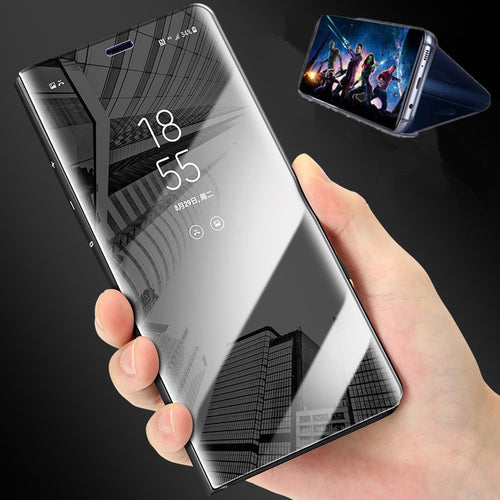 Luxury Touch Smart Flip Stand Clear View Phone Case For Samsung Galaxy S9 S8 Plus Mirror Case For Samsung S7 Edge Leather Cover