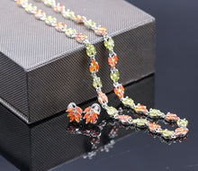 GZJY Elegant party jewelry sets white gold color orange green AAA cubic zirconia&crystal necklace pendant earrings set