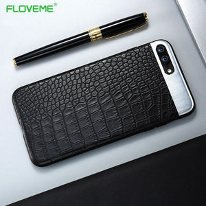 FLOVEME Metal + Leather Back For iPhone 7 /7 Plus Cover Luxury Protection Flip Phone Holder Bags For Apple iphone 7 Accessories