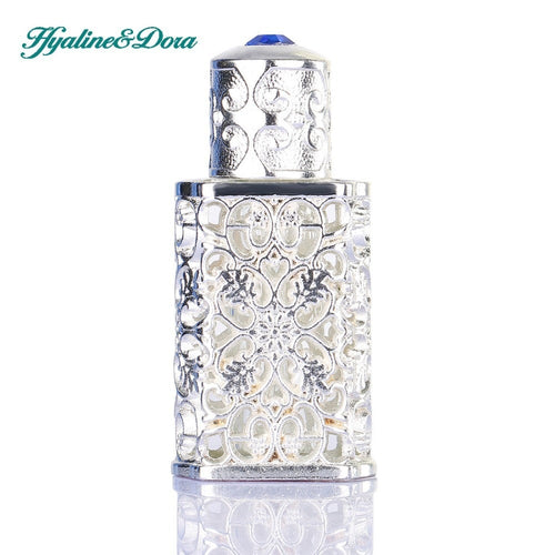 Silver Women Perfume Bottle Antiqued Style Retro Hollow Flower Inlaid With Blue glass Empty Perfume Container Wedding decoration