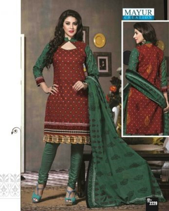 Cotton Printed Dress Material (Red & Green)