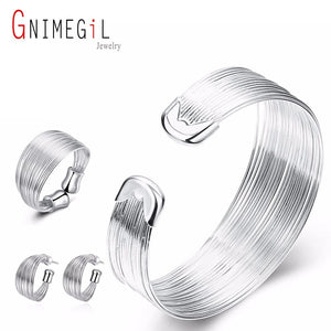 GNIMEGIL Wedding jewelry sets 925 jewellry silver plated Lovely jewelry sets Silver Filled Bracelet Earrings Ring for women